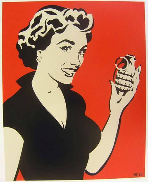 vintage happy housewife with a hand grenade por art